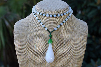 Chinese natural white jade hand carving Delicate flower jade pendants