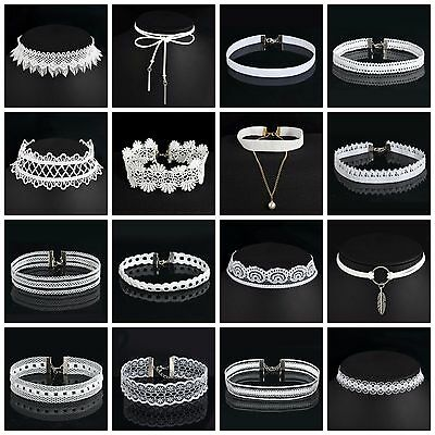 White choker summer/festival choose from shoelace,lacy,skinny,stretchy,hoop/loop