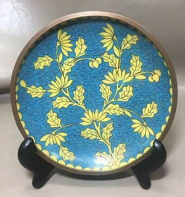 VIntage Chinese Enamel on Copper Flowers/Leaves Tray Plate Marked China