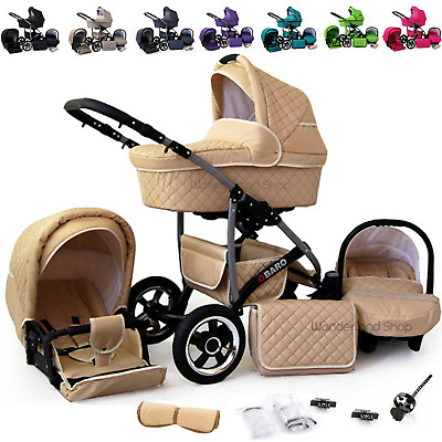 Baby Pram Travel System Buggy 3in1 Pushchair Car Seat Carrycot Stroller Newborn