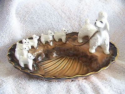 Rare Vintage Mother Poodle & 6 Pups Chained Candy Dish Jewelry Holder Soap Dish