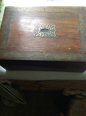 Art Nouveau Brass Inlaid Wooden Box
