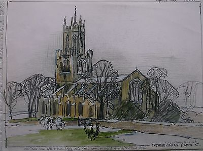 COLOURED GRAPHITE DRAWING by FREDERICK GEORGE WILLS 1901-1993 R.I. FOTHERINGHAY