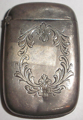 Antique sterling silver decorated matches match vesta case