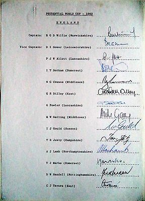 England 1983 World Cup Squad – Cricket Official Autograph Sheet