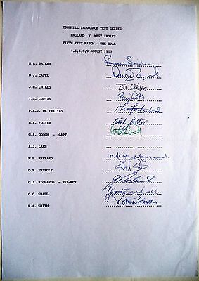 ENGLAND v WEST INDIES 1988, 3rd 1 DAY INT – CRICKET OFFICIAL AUTOGRAPH SHEET