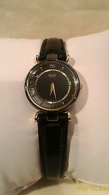 SEIKO Black & Gold Trim Dial Watch  1NOO-060 Leather Band NEW Battery