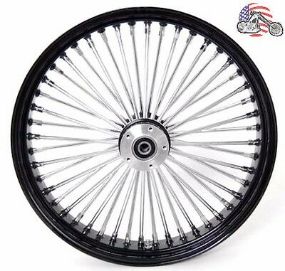 21 3.5 52 Mammoth Fat Stainless Spoke Front Wheel Black Rim  Harley Touring ABS