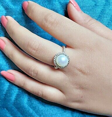 Fresh Water Pearl Ring 925 Solid Sterling Silver Handmade Jewelry Size 3-14 US