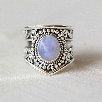 Rainbow Moonstone Ring 925 Solid Sterling Silver Handmade Jewelry Size 3-14 US
