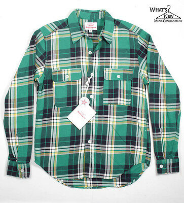 NEW Battenwear Button Front Green Plaid Flannel Shirt Sz. S *Made In USA*