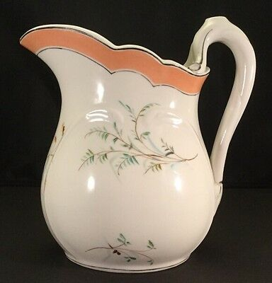 Museum Quality Union Porcelain Works Large Ironstone Hand Painted Pitcher