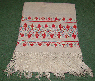 Fringed and Embroidered Antique Victorian Linen Show Towel