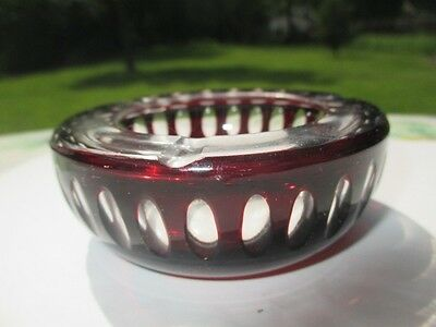 Bohemian Art Glass Blood Red Ruby Crystal Cut To Clear Thumbprint Olives