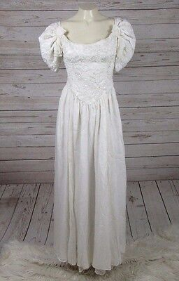 Vintage Prom Formal Dress White Lace Wedding 80's Bow Big Sleeves Poofy Beaded