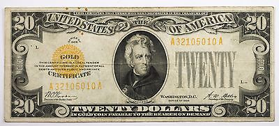 1928 $20 Gold Certificate Very Fine VF Condition - A3215010A