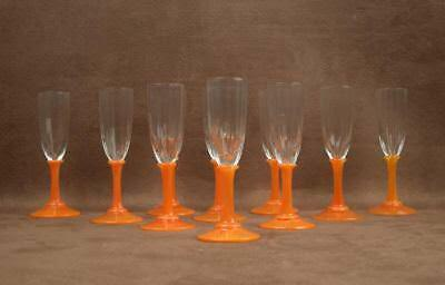 Superb Ensemble De Verres A Pied A Liqueur Art Deco Signés Daum Nancy