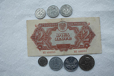 Poland Banknote and coins, 2 Zlote 1944, 10/20/50 Groszy, 1/2/20 Zlotych 1923-76