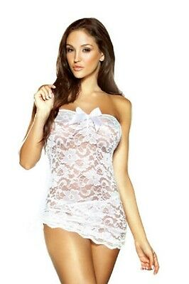 Pure Lace Strapless Dress & Matching G-String by Fantasy Lingerie