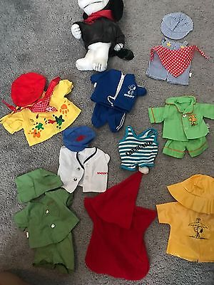 """Plush Snoopy 12"""" with 9 vintage  1980's outfits"""