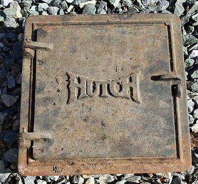 Vintage Cast Iron Wood Stove Door Ornate Rustic Decor Steampunk Wall Hanging
