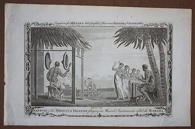 Natives of the Molucca Islands playing on Musical Instruments called the Rabana,