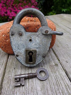 Antique Vintage Padlock with one key, working order, hobby, collector