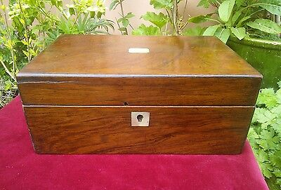 Antique Rosewood MOP Inlay Wooden Writing Jewellery sewing  Desk Box