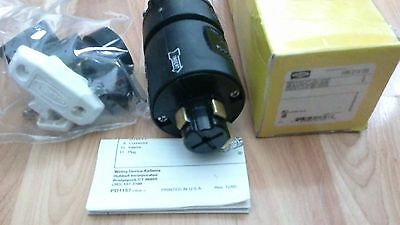Used Hubbell Hbl21415B Plug 30 Amp 600 Vac 20 Amp 250 Vdc 3 Pole 4 Wire