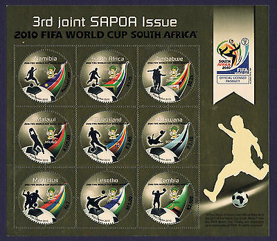 SAPOA 2010 Fifa World Cup Combination Sheet, MNH (Malawi, Mauritius, Zimbabwe)