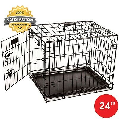 Home Discount Pet Cage Metal Folding Dog Puppy Animal Crate Vet Car Training...