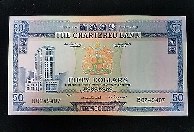 1970 The Chartered Bank Hong Kong Fifty Dollars Currency UNC