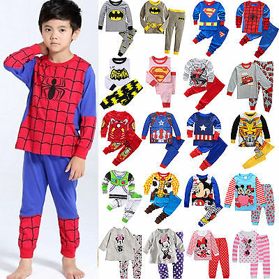US Kids Baby Boys Girls Cartoon Short/ Long Sleepwear Nightwear Pyjamas Pj's Set