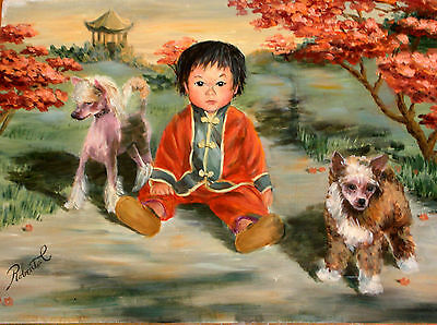 """Chinese Crested with child dog art print size """"8 x 10"""""""