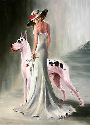 Great Dane harliquin with lady dog art print