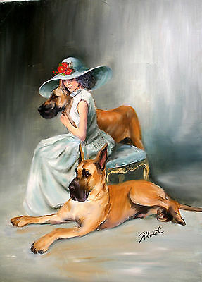 Great Danes fawn with lady on bench  print dog art