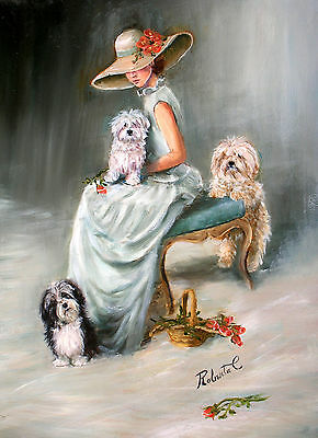 Havanese with lady  limited edition print dog art