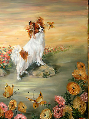 Papillon on rock red&wh limited edition dog print