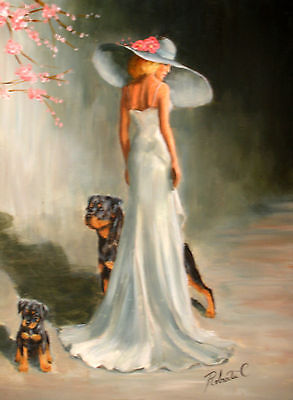 Rottweiler with lady  limited edition print