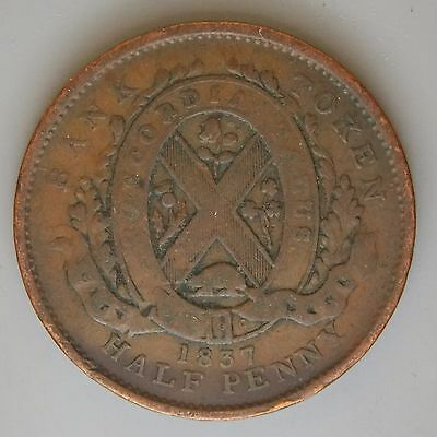 1837 LC-8A2 Lower Canada Canadian Colonial  Un Sou 1/2 Penny City Bank Token
