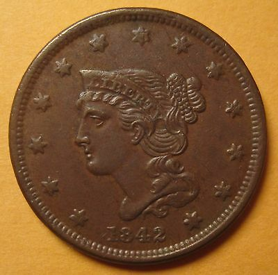 1842 Braided Hair Large Cent (Small Date N-1 / R3) – Sharp & Attractive !