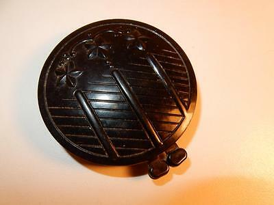 VINTAGE ANTIQUE BLACK CELLULOID FACE POWDER BOX COMPACT 1930s RARE