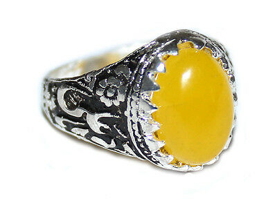 Islamic shia SHARAF SHAMS With TALISMAN china Agate Men Ring Silver Plated