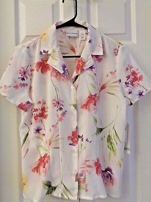 68a06346e1 NWT Alfred Dunner Spring Gardens Blouse Shirt Top Size 8 White Pink Purple
