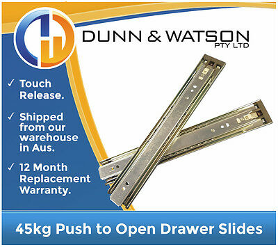 45kg Push to Open Drawer Slides / Kitchen Runners - Touch Release, Caravan