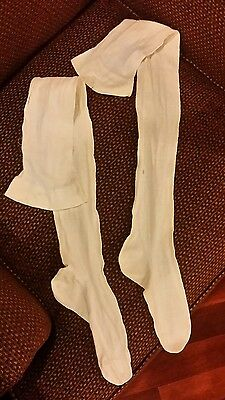 Fabulous Antique Victorian-Edwardian EMBROIDERED WOMAN'S Cotton Socks STOCKINGS
