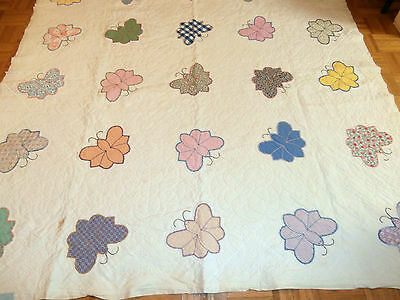 """Antique Vintage Butterfly hand appliqued quilt 76"""" x 76"""" Beautiful quilting!"""