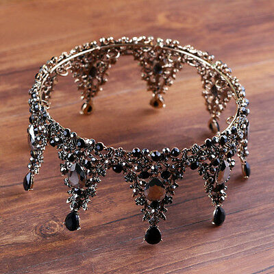 """Luxury Queen Black Crystal Gold Crown Wedding Bridal Party Pageant Prom 5"""" Wide"""