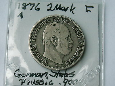 1876 A  Prussia Two Mark Coin .900 Silver ( About Fine, My Opinion )