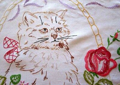 Vintage Linen Hand Embroidered Cat with Roses Centrepiece Doily